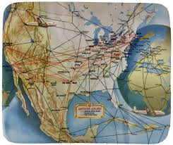 Air Berlin Route Map by American Airlines 1950 U0027s Route Map Mousepad U2013 Airline Employee Shop