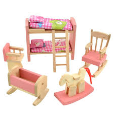 Doll House Bunk Bed Kids Toy Furniture Wooden Doll Bunk Bed Set Furniture Dollhouse