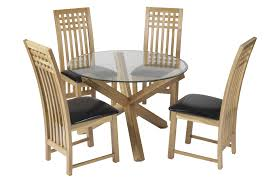 mission dining furniture set for kids with round glass table and