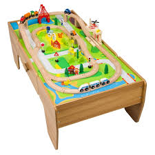 wooden train set table 80 piece wooden train set with table gift finder 3 5 years uk