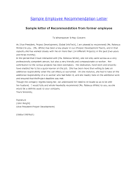 letter of recommendation for an employee cover letter database