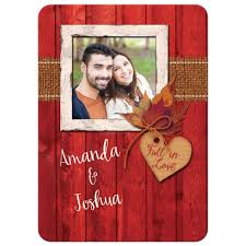rustic photo template wedding invitation autumn leaves faux