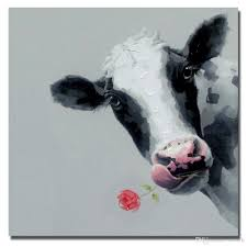 2017 hand drawing abstract cow and rose pictures decorative design