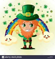 cute leprechaun holding a gold horseshoe and shamrock in front of