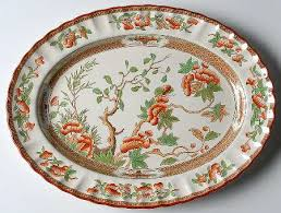 spode indian tree orange rust green scallop trim at
