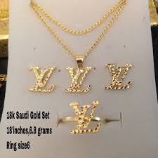 new gold set 8 jewelry brand new 18k saudi solid gold lv design set