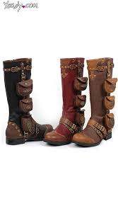 womens flat boots uk steunk belted and studded knee high boot flat boots