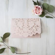 Blush Wedding Invitations Elegant Blush Pink Floral Laser Cut Wedding Invitation Cards