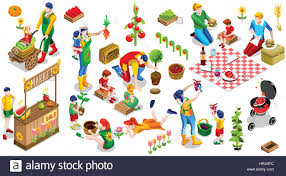 farmer man and kids planting tree 3d isometric people country