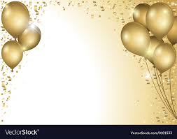 gold balloons gold balloons and falling confetti royalty free vector image