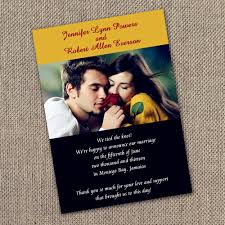 wedding announcement cards printable yellow and black photo wedding announcements cards