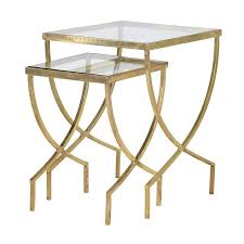 buy nest of tables cannes gold glass nest of side tables shropshire design
