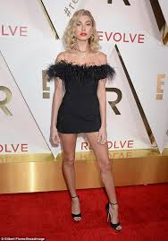 revolve dresses hailey baldwin smolders at revolve awards daily mail online