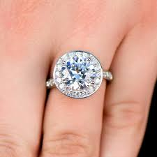 silver cubic zirconia cut halo engagement ring - 4 Carat Cubic Zirconia Engagement Rings