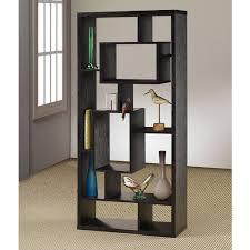coaster room divider bookcase shelf black oak finish shelving