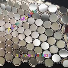 stainless steel mosaic tile silver round chips porcelain basement