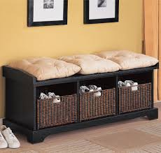 Entryway Bench With Rack Furniture Black Wooden Shoe Storage Bench With Basket With