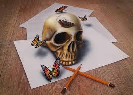 3d drawings of 3d skull butterflies 3d