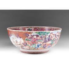export porcelain famille mandarin palette punch bowl