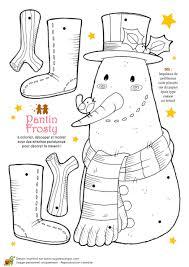 Coloriage et activités Noël tendresse pantin Frosty le bonhomme de