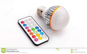 Rgb Led Light Bulb With Remote by Multi Colour Led Light Bulb And Remote Control Stock Illustration