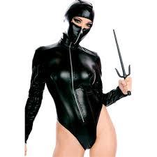 Black Leather Halloween Costumes Women Halloween Cosplay Leather Costume Ninja Hooded Jumpsuits
