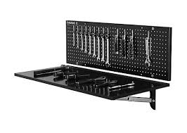 folding work table home depot husky 43 inch folding steel workbench with pegboard back wall the