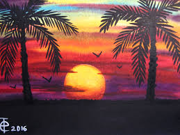 Paint Colorful - watercolor painting sunset with palm trees speed painting