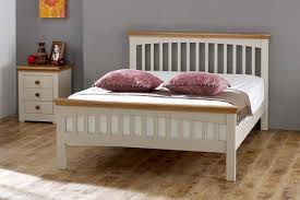 Wooden Bed Frame Double by Heywood White Solid Wood Bed Frame 4ft6 Double The Oak Bed Store