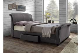 Grey King Size Bed Frame Beautiful Upholstered Grey Contemporary5ft King Size Sleigh Bed