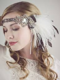 flapper headband cocoa and ivory ostrich feather flapper headband accessories
