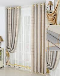 Grey Plaid Curtains Gold Blackout Polyester Plaid Curtains