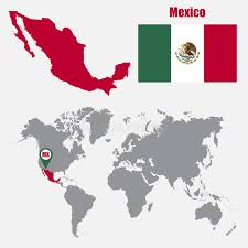 mexico in the world map mexico map on a world map with flag and map pointer vector