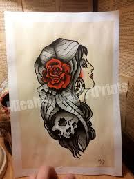 gypsy traditional tattoo classic flash page american