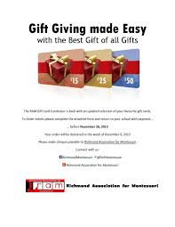gift card fundraiser gift card fundraiser richmond association for montessori