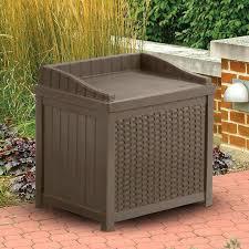 Outdoor Storage Bench Seat Suncast Resin 22 Gallon Outdoor Storage Bench Seat Mocha Brown