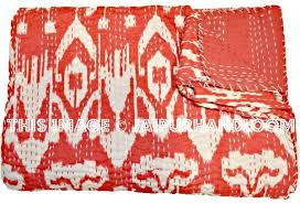Ikat Duvet Covers Indian Cotton Ikat Kantha Quilt In Red Sari Ikat Quilt Queen Blanket