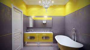 yellow and grey bathroom decorating ideas striking yellow grey bathroom decor with clawfoot bathtub