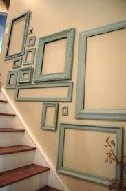 Staircase Wall Decorating Ideas Staircase Wall Decoration Blue Picture Frames Used For Staircase