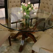 round single pedestal table w glass top by cramco inc wolf and