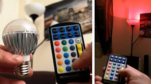 color changing light bulb with remote remote controlled multi color led light bulb youtube
