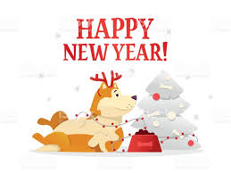 happy new year 2018 postcard template with the cute yellow dog