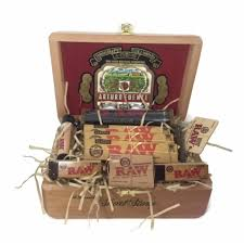 cigar gift basket king size rolling paper combo in collectible wood cigar box