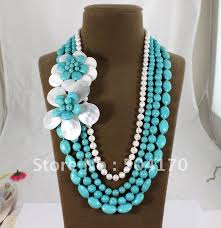 necklace flower handmade images Fashion 4 rows stone flower freshwater pearls necklace handmade jpg