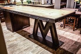 Reclaimed Kitchen Island Barnwood Kitchen Island Fresh M Base Steel Reclaimed Wood