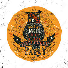 scary halloween lettering halloween party banner set with spooky castle stock vector image
