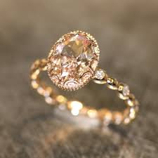 gold and morganite ring floral morganite engagement ring in 14k gold pebble
