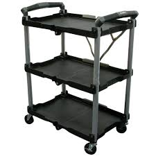 Kitchen Carts Home Depot by Olympia 3 Shelf Collapsible 4 Wheeled Multi Purpose Utility Cart