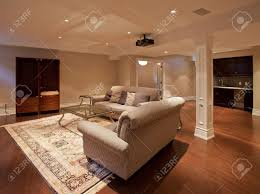 modern home entertainment room in the basement stock photo