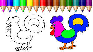 learning colouring videos for kids chicken coloring page how